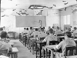 Education in Zimbabwe - Training of Royal Air Force Aircrew in Rhodesia, 1943. This is an example of the focus on White education during colonial rule until 1980.