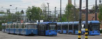 Trams in Munich - A class P (left), class R and class S tram