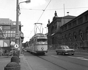 Trams in Bonn - Trams outside of Bonn Hauptbahnhof (July 1986).