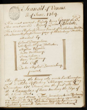 King's Observatory - Extract from Observations on the Transit of Venus, a manuscript notebook from the collections of George III, showing George, his wife and those attending them, including Demainbray.