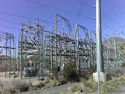 A transmission substation decreases the voltage of incoming electricity, allowing it to connect from long distance high voltage transmission, to local lower voltage distribution. It also reroutes power to other transmission lines that serve local markets. This is the PacifiCorp Hale Substation, Orem, Utah, USA Transmissionsubstation.jpg