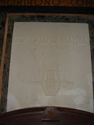 "Goffredo Mameli - ""Both lyre and sword"" on the stone in honor of Mameli in via Garibaldi on Rome's Janiculum Hill"