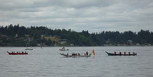 Squaxin Island Tribe - Canoes arriving in Olympia during the paddle to Squaxin 2012 event.