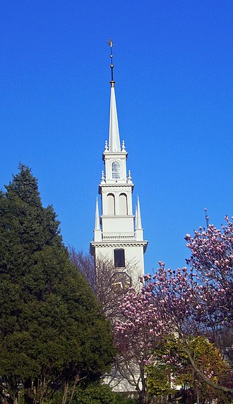 Trinity Church (Newport, Rhode Island) - Front view of church and steeple, 2008