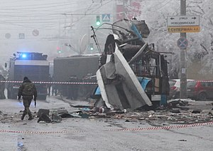Trolleybus torn to pieces by the explosion in Volgograd.jpeg