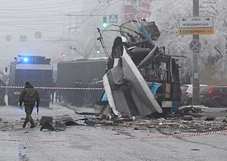 Trolleybus torn to pieces by the explosion in Volgograd