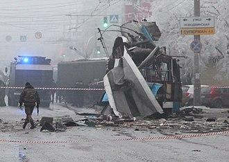 December 2013 Volgograd bombings - Image: Trolleybus torn to pieces by the explosion in Volgograd