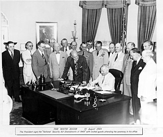 Revolt of the Admirals - President Truman signs the National Security Act Amendment, 1949
