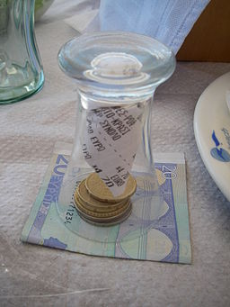 Twenty euro banknote and coins