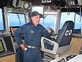 U.S. Navy Capt. Jon P. Rodgers, the commanding officer of the afloat forward staging base USS Ponce (AFSB(I) 15), mans the bridge during International Mine Countermeasures Exercise (IMCMEX) 2013 in the U.S. 5th 130515-N-ZZ999-005.jpg