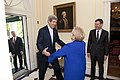 U.S. Secretary of State John Kerry embraces Former Secretary of State and Chair of Partners for a New Beginning (PNB) Madeleine Albright upon arriving at the Blair House in Washington, D.C., on May 3, 2013.jpg