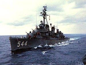 USS Boyd (DD-544) underway at sea, circa in the 1960s