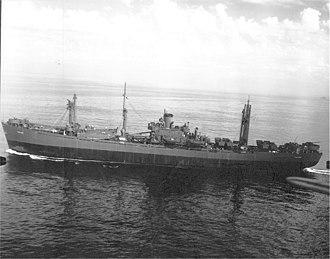 USS Caelum (AK-106) - USS Caelum (AK-106) underway probably in San Francisco Bay, date unknown.