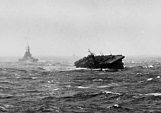Typhoon Cobra - USS Langley (CVL-27) rolling heavily during Typhoon Cobra, 18 December 1944.
