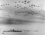 USS Missouri (BB-63) flyover, Tokyo Bay, 2 September 1945 (80-G-421130).jpg