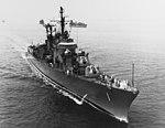 USS Norfolk (DL-1) underway in Hampton Roads on 6 September 1955 (NH 94158).jpg