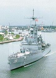 USS Virginia (CGN-38) leaving port, circa 1990