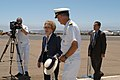 US Navy 040722-N-2636M-075 Former first Lady Nancy Reagan greets Captain Townsend G. Alexander, Commanding Officer, Naval Air Station North Island upon her arrival to San Diego.jpg