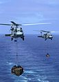 US Navy 040911-N-0057P-041 An SH-60F and an HH60H helicopter assigned to Helicopter Anti Submarine Squadron Two (HS-2) carry supplies to the flight deck of the aircraft carrier USS Abraham Lincoln (CVN 72) during an underway re.jpg