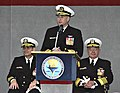 US Navy 041203-N-4204E-175 Vice Adm. Kevin Moran makes some remarks as he assumes command from Vice Adm. Alfred Harms as Commander, Naval Education and Training during the change of command ceremony.jpg