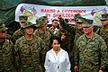 US Navy 060222-N-4772B-084 Philippine President Gloria Macapagal Arroyo meets with Commanding Officer, 31st Marine Expeditionary Unit (MEU) Col. Walter L. Miller near the site of a devastating landslide.jpg