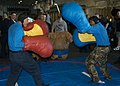 US Navy 061105-N-0730W-054 Sailors on board the multipurpose amphibious assault ship USS WASP (LHD 1) takes part in big glove boxing match during a steel beach picnic.jpg