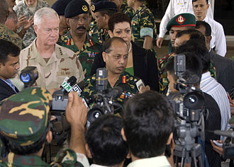 Moeen U Ahmed - US Navy Adm. Timothy J. Keating, commander of U.S. Pacific Command, and Gen. Moeen U Ahmed, Chief of Army Staff of the Bangladesh Army, attend a press conference after meeting at Army Headquarters