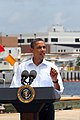 US Navy 100814-N-6936D-103 President Barack Obama speaks to the press about Gulf Coast oil spill clean-up efforts at Coast Guard Station Panama City.jpg