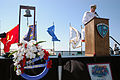 US Navy 110911-N-OB313-005 Rear Adm. Chris Sadler, commander of Naval Air Forces Reserve, delivers remarks aboard the USS Midway Museum..jpg