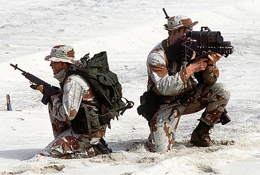 US Navy SEALs with laser designator closeup