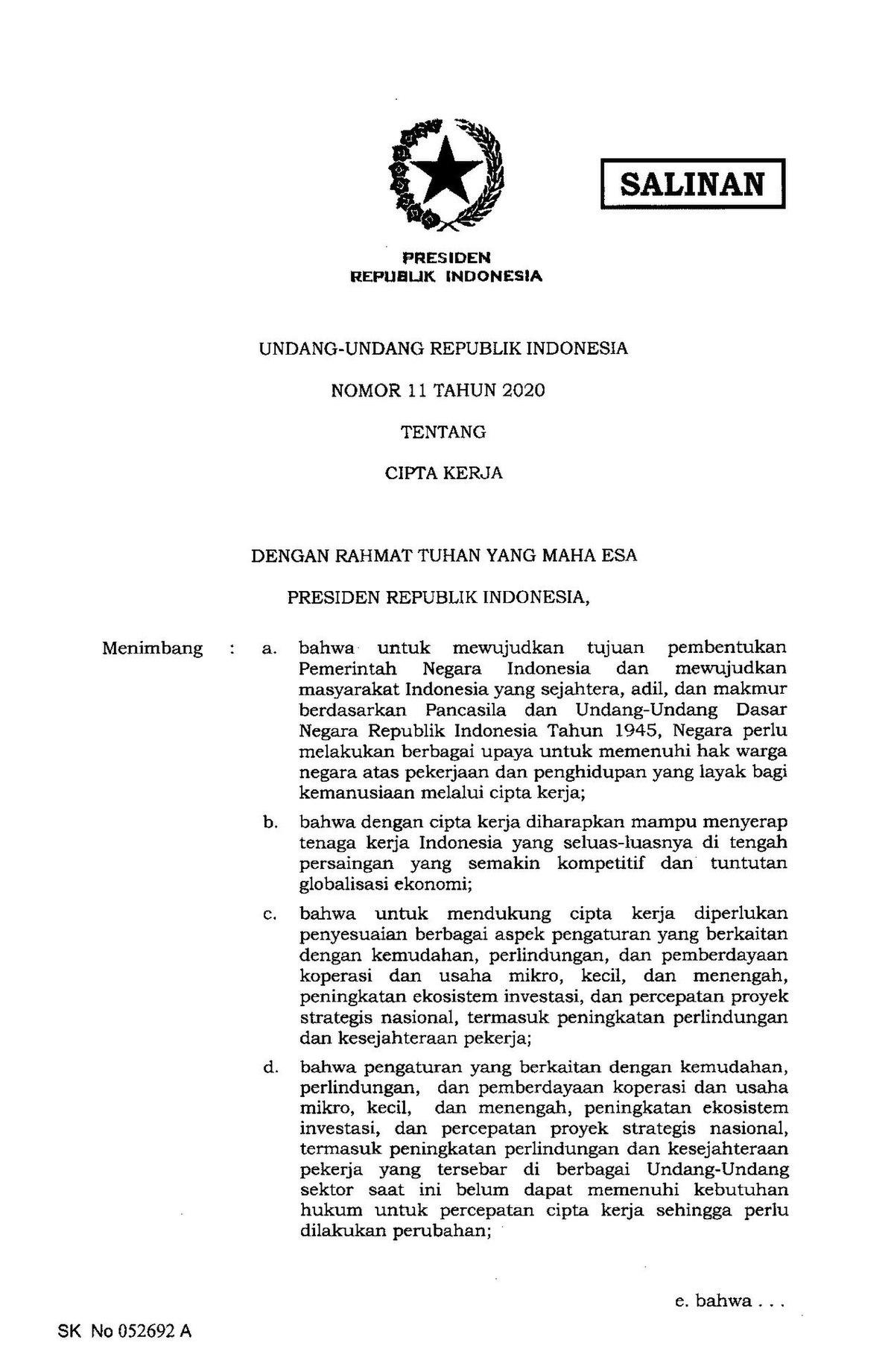 Berkas Uu Nomor 11 Tahun 2020 Tentang Cipta Kerja Pdf Wikipedia Bahasa Indonesia Ensiklopedia Bebas