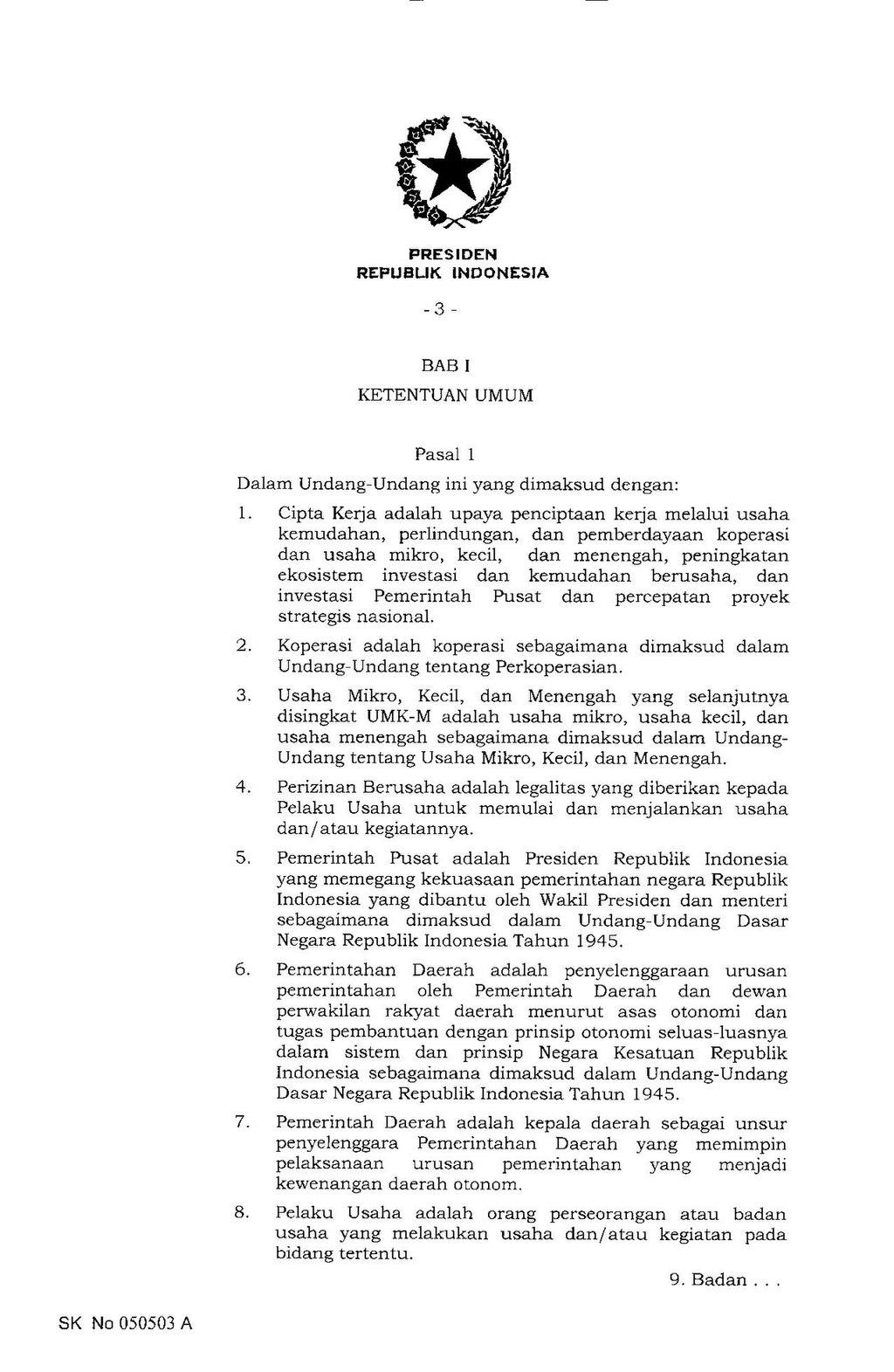 Halaman:UU Nomor 11 Tahun 2020 tentang Cipta Kerja.pdf/3 ...