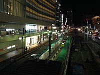 Uemachi Line of Hankai Tramway at night near Tennoji Station.JPG