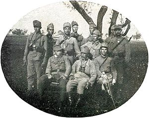 Ukrainian Sich Riflemen - Sotnyk Y. Budzynovskyi with his sotnia staff of the Ukrainian Sich Riflemen.
