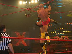 Two men, one in yellow trunks while the other in red trunks, battling, while hanging by red steel ropes, to retrieve a championship belt, which is suspended on the ropes