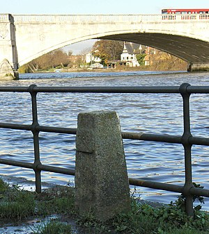 Chiswick Bridge - The Boat Race finish line stone