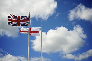 Flag of England - The flag of England flying alongside the flag of the United Kingdom in Southsea, Portsmouth, in July 2008