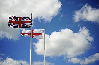 Union Jack - The Union Jack flying beside Saint George's Cross