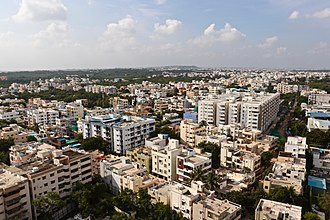 Middle class apartments in Uppal Kalan--a rural-urban fringe of Hyderabad city Uppal aerial view.jpg
