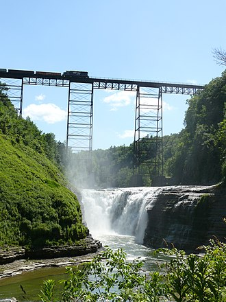 Letchworth State Park - Upper Falls with a train passing over the Portage Viaduct