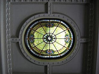 Ventura County Courthouse - Domed skylight in courtroom ceiling on 2nd floor, with plaster detail, July 2008.