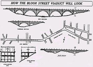 Prince Edward Viaduct - Original plans, as published in December 1912
