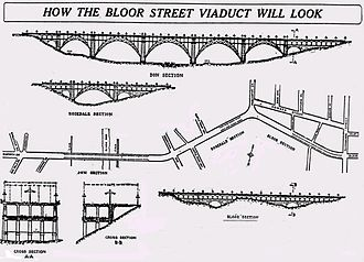 Prince Edward Viaduct - Original plans, as published in December 1912