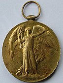 Bronze medal with winged female victory figure holding a palm branch