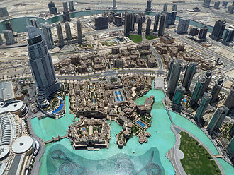 Burj Khalifa - View of The Dubai Fountain from the observation deck