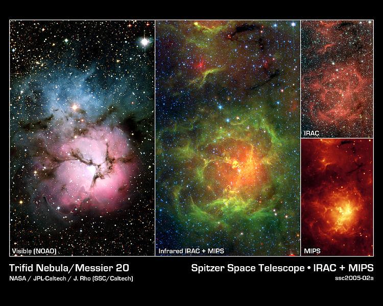 Trifid Nebula in various regions of the spectrum