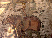 A Rhinoceros depicted on a Roman mosaic in Villa Romana del Casale, an archeological site near Piazza Armerina in Sicily, Italy