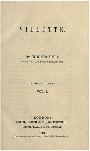 Villette (novel) - Title page of the first edition of Villette