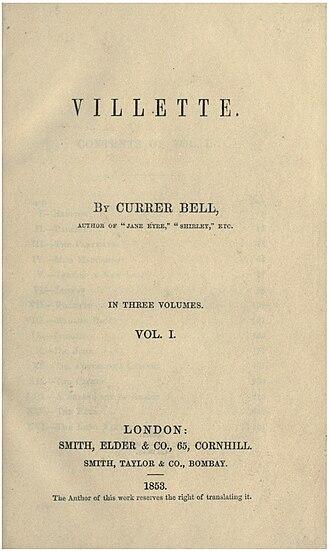 Villette (novel) - Title page of the first edition of Villette