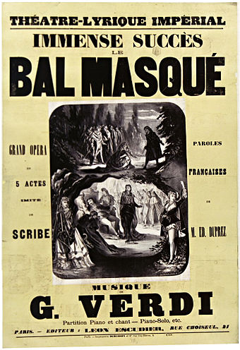 Cover of the vocal score of Le bal masque (1869) Vocal score for 'Le bal masque' by Verdi at the Theatre Lyrique 1869.jpg